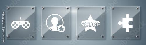 Tablou Canvas Set Piece of puzzle, Star, Premium create account screen and Gamepad