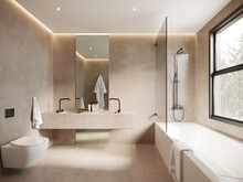 3d Rendering Of A Beige Minimal Concrete Bathroom With A Bathtub A Toilet And View To Olive Trees