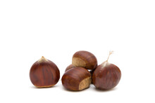 Fresh Raw Sweet Chestnuts(Castanea Sativa) Isolated On A White Background