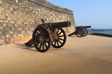 Old Cannons In Front Of Arrecife Fort Canary Islands Lanzarote Spain