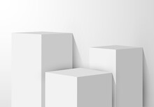 3D Realistic White Pedestal Rectangular Box Studio Room With Light Product Shelf On Clean Background