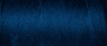 Blue Cotton Threads With Visible Details. Background
