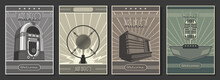 1920s - 1940s Art Deco Style Posters Template Set, Retro Radio, Microphones, Jukebox