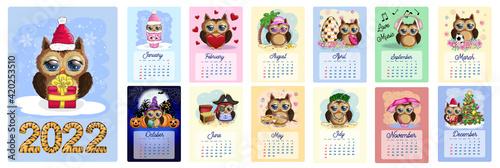 Fotografie, Tablou Calendar 2022. Cute owls and birds for every month