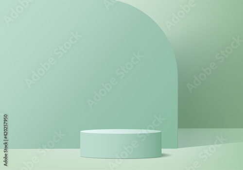 Obraz 3d display product abstract minimal scene with geometric podium platform. cylinder background vector 3d rendering with podium. stand for cosmetic products. Stage showcase on pedestal 3d green studio - fototapety do salonu