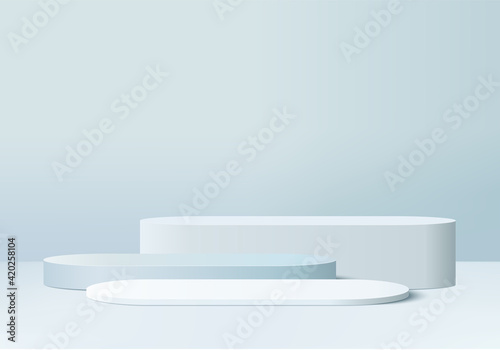 Obraz 3d display product abstract minimal scene with geometric podium platform. cylinder background vector 3d rendering with podium. stand for cosmetic products. Stage showcase on pedestal 3d blue studio - fototapety do salonu
