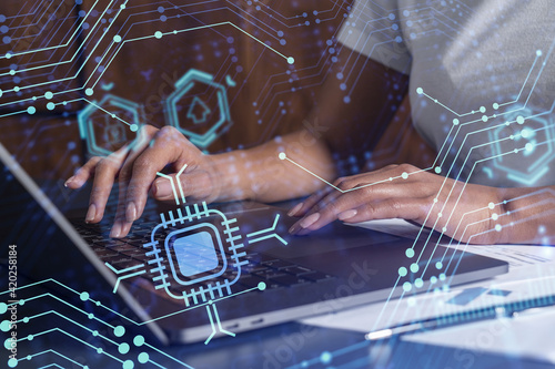 Woman hands typing the keyboard to create innovative software to change the world and provide a completely new service Fototapet