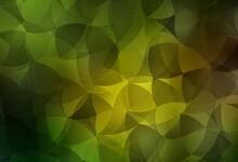 Dark Green, Yellow Vector Shining Triangular Backdrop.