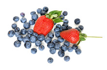 Two Ripe Juicy Strawberries And Garden Blueberries On White Background