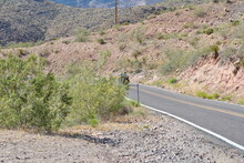 Sitgreaves Pass, Arizona, Old Route 66 Near Oatman. Car And Bike