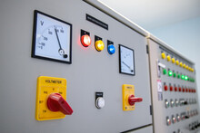 View Of Electrical Main Distribution Unit With Selecter Switch With Meter And Push Switch And Pilot Lamps.