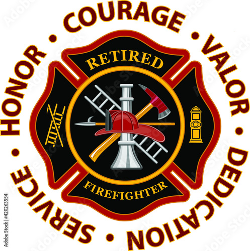 Canvas Print Retired Firefighter Honor Courage Valor is a design that includes a classic firefighter Maltese cross and text that says Retired Firefighter inside of it and text that says Honor Courage and Valor