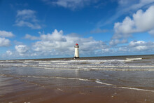 Talacre Lighthouse On A Late Summer's Afternoon With The Tide Coming In