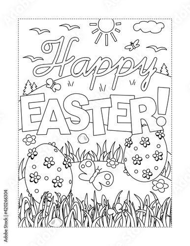 "Tablou Canvas ""Happy Easter!"" holiday greeting coloring page"