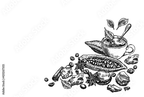 Fototapeta Hand drawn composition of ingredients for making delicious chocolate. Cover for the cafe menu. Coffee, tea, cocoa beans and butter, mug with hot drink and cloves spices isolated on white background obraz