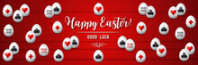 Red Easter Greetings Banner With Red And Black Gambling Symbols Over White Eggs, Vector Illustration.Suitable For Invitations, Greeting Cards, Flyers, Banners.