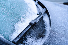 Frozen Windshield Wipers In Winter, Close-up