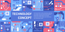 Vector Banner Of Technology Concept. Abstract Pattern With Different Circuit Boards