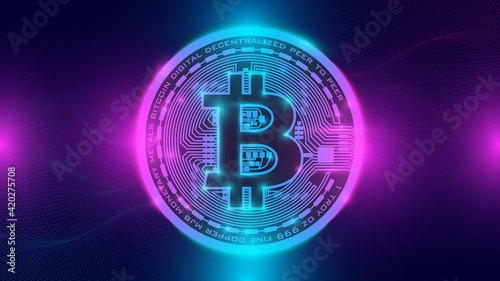 Fotografija Bitcoin and neon background