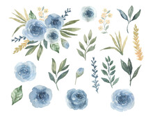 Watercolor Dusty Blue Roses Smoky Muted Colors Flower Bouquet