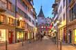 canvas print picture - Night scene in Neumarkt, Zürich, Switzerland along Seilergraben street towards the Grimmenturm
