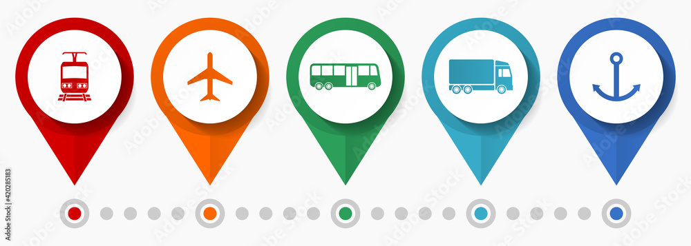 Fototapeta Transportation vector icon set, flat design pointers, infographic template