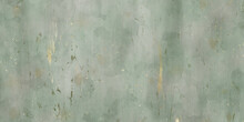 Old Blue Green And Grey Spilled Wall, Scratched Watercolor Background Painting, Distressed Texture And Grunge Vintage Old Paper