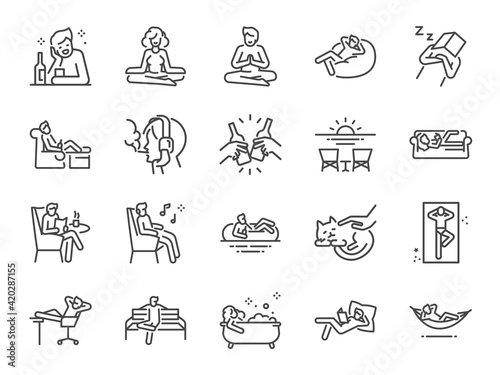 Obraz Relax line icon set. Included the icons as chill, take a rest, recreation, relaxation, calm, and more. - fototapety do salonu