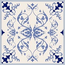 Illustrated Ceramic Hydraulic Tile Typical Of Spain, Italy And Portugal