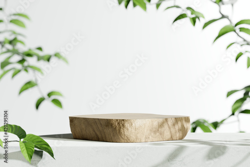 Obraz Wooden product display podium with blurred nature leaves background. 3D rendering - fototapety do salonu