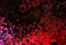 Dark Red, Yellow Vector Background With Xmas Snowflakes, Stars.