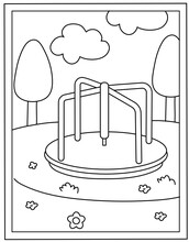 Merry Go Round Colouring Page Vector