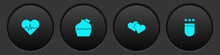 Set Heart Rate, Wedding Cake With Heart, And Quiver And Arrows Icon. Vector