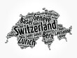 List of cities and towns in Switzerland, map word cloud collage, business and travel concept background