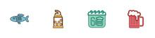 Set Dried Fish, Bottle Opener, Saint Patricks Day Calendar And Wooden Beer Mug Icon. Vector