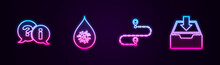 Set Line Question And Exclamation, Dirty Water Drop, Route Location And Download Inbox. Glowing Neon Icon. Vector