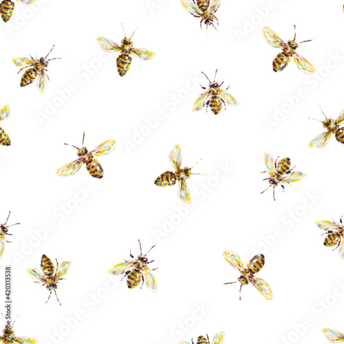 Photo Yellow honey bees on a white background