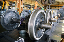 Pairs Of Train Wheels, Image With Bokeh Effect, Factory Storage