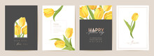 Mother Day Holiday Card. Spring Floral Vector Illustration. Greeting Realistic Tulip Flowers Template