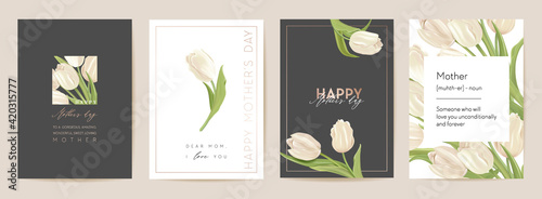 Obraz Mother day holiday card. Spring floral vector illustration. Greeting realistic tulip flowers template - fototapety do salonu