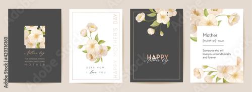 Obraz Mother day floral spring postcard. Greeting realistic sakura cherry flowers template, modern bouquet flower - fototapety do salonu