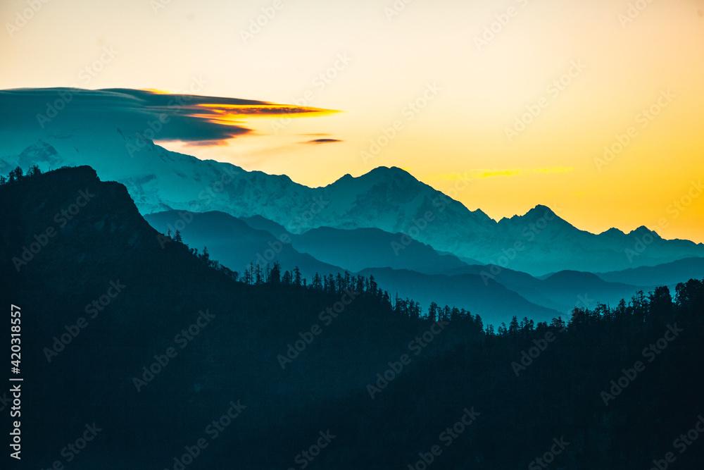Fototapeta Cloudscape sunrise above Annapurna Peak in the Himalaya range, Annapurna region, Nepal