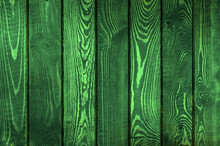 Wood Background Toned In Green. Abstract Green Grunge Background. Toned Old Stained Wood Background. Green Vintage Banner. Copy Space.