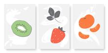 Summer Fruits Set, Kiwi Tangerine Strawberry Template Background For Social Media Stories