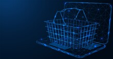 Online Store. Wire Shopping Cart On The Laptop. Polygonal Construction Of Lines Of Points. Free Space For Information. Blue Background.