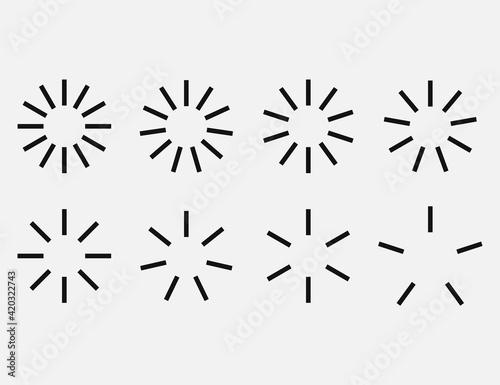 Fototapeta Starburst and sunburst radial effect set. Vector illustration. obraz