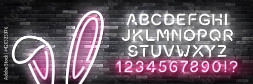 Fotografie, Obraz Vector realistic isolated neon sign of Bunny Ears with easy to change color font alphabet for template decoration and layout covering on the wall background