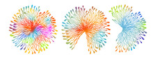 Beautiful Colored Dandelions. Set Of Multicolored Abstract Flowers. Vector Illustration