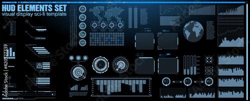 Fototapeta Futuristic Vector HUD Interface Screen Design. Digital callouts titles. HUD UI GUI futuristic user interface screen elements set. High tech screen for video game. Sci-fi concept design. obraz