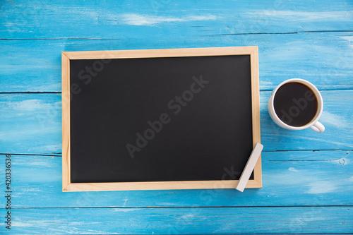 Fototapeta blackboard with chalk and cup of coffee obraz